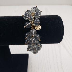 J. Crew Cluster Bead Stretch Bracelet Gray Gold
